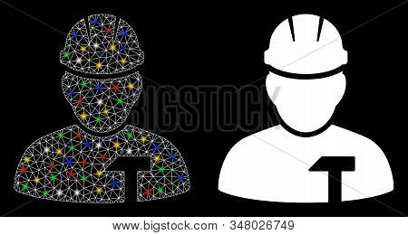Flare Mesh Builder Person Icon With Glow Effect. Abstract Illuminated Model Of Builder Person. Shiny
