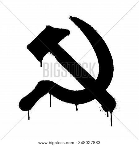 Symbol Of Ussr Communism Icon With Hammer And Sickle. Vector Illustration In Graffiti Style With Ove