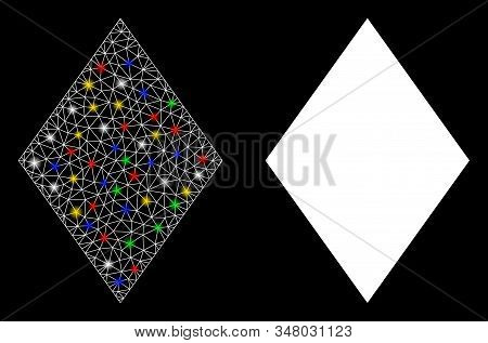 Bright Mesh Filled Rhombus Icon With Glare Effect. Abstract Illuminated Model Of Filled Rhombus. Shi