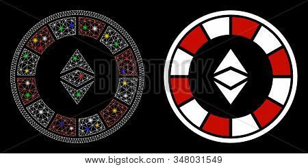 Glowing Mesh Ethereum Casino Roulette Icon With Glare Effect. Abstract Illuminated Model Of Ethereum