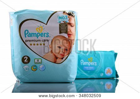 Pampers Products Isolated On White