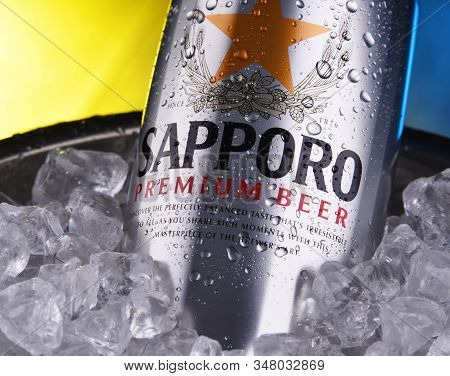 Poznan, Pol - Jan 17, 2020: Cans Of Sapporo Beer, A Product Of Sapporo Breweries, A Japanese Beer Br
