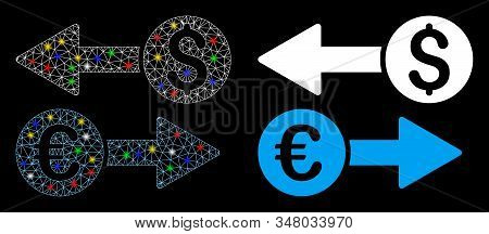 Glossy Mesh Currency Transfers Icon With Glow Effect. Abstract Illuminated Model Of Currency Transfe