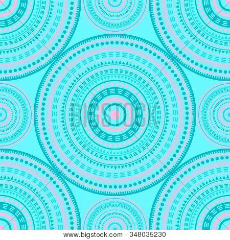 Bohemian Ethnic Motifs Seamless Pattern. Circle Medallion Mandala Geometric Tiles. Fabric Print Temp