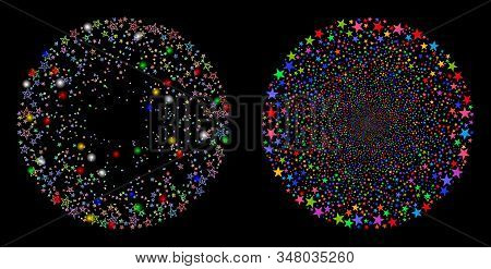 Flare Mesh Star Fireworks Sphere Icon With Glow Effect. Abstract Illuminated Model Of Star Fireworks
