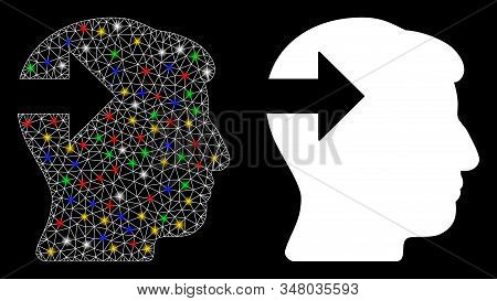 Flare Mesh Head Plug-in Arrow Icon With Lightspot Effect. Abstract Illuminated Model Of Head Plug-in