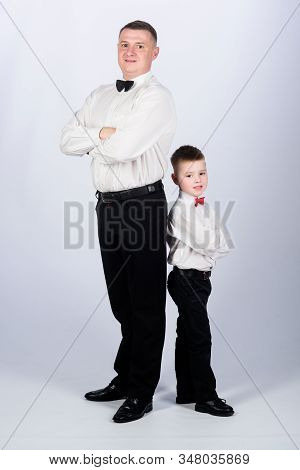 Little Boy With Dad Businessman. Family Day. Happy Child With Father. Business Meeting Party. Esthet