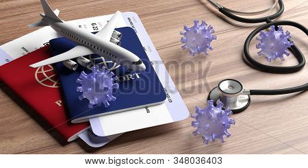 Flu Coronavirus And Doctor Stethoscope On Wood. 3D Illustration