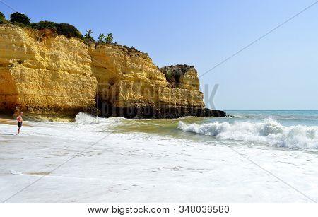 Senhora Da Rocha, Algarve, Portugal - October 2, 2014 : Senhora Da Rocha Cliff On The Algarve Coast