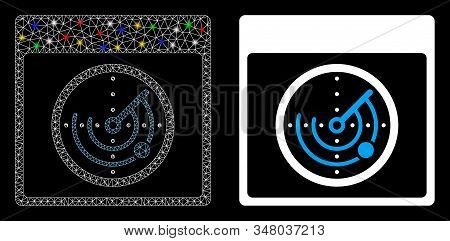 Glowing Mesh Radar Calendar Page Icon With Glare Effect. Abstract Illuminated Model Of Radar Calenda