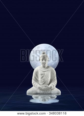 Spiritual Background For Meditation With Budha Statue And Full Moon