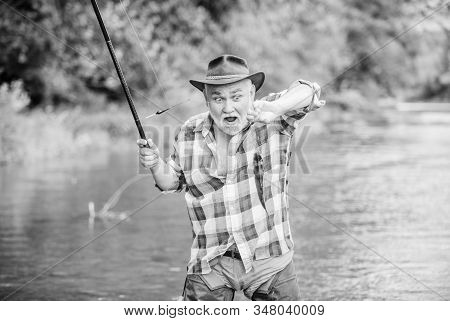Hobby Sport Activity. Fish Farming Pisciculture Raising Fish Commercially. Pensioner Leisure. Man Se