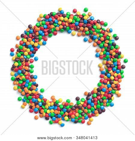 Colorful Coated Chocolate Candies Arranged In Circle Frame. 3d Illustration
