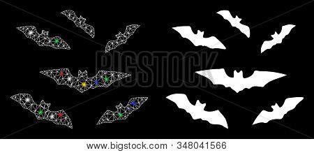 Flare Mesh Halloween Bats Icon With Glow Effect. Abstract Illuminated Model Of Halloween Bats. Shiny