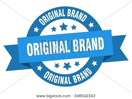 Original Brand Ribbon. Original Brand Round Blue Sign. Original Brand