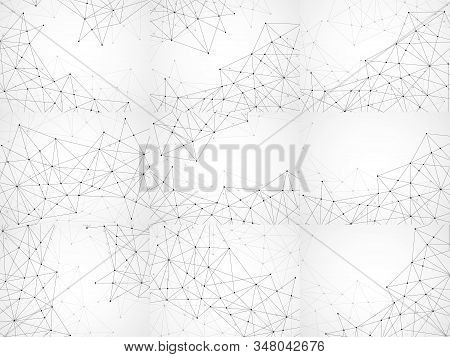 Set Of Abstract Geometric Backgrounds With Connecting Dots And Lines. Modern Technology Concept. Bla