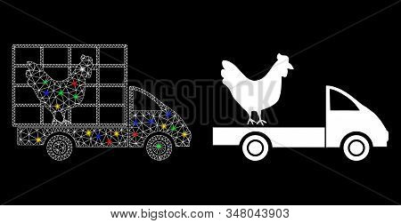 Glowing Mesh Chicken Wagon Icon With Glare Effect. Abstract Illuminated Model Of Chicken Wagon. Shin