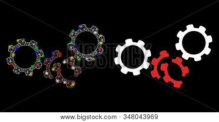 Glossy Mesh Gears Damage Icon With Glow Effect. Abstract Illuminated Model Of Gears Damage. Shiny Wi