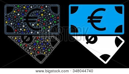 Glossy Mesh Euro And Dollar Banknotes Icon With Glitter Effect. Abstract Illuminated Model Of Euro A