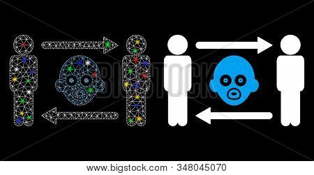 Glowing Mesh Persons Baby Exchange Icon With Glare Effect. Abstract Illuminated Model Of Persons Bab