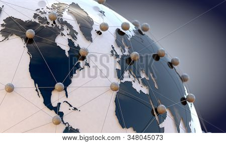 Global Telecommunication And  Cloud Computing.3d Illustration Of Networking And Internet Concept And