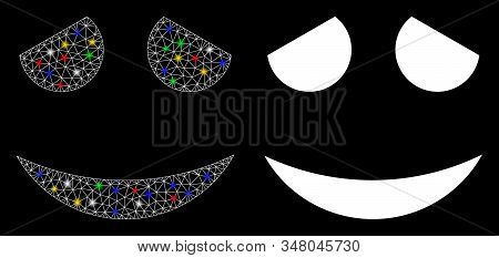 Flare Mesh Embarrassed Smiley Icon With Lightspot Effect. Abstract Illuminated Model Of Embarrassed