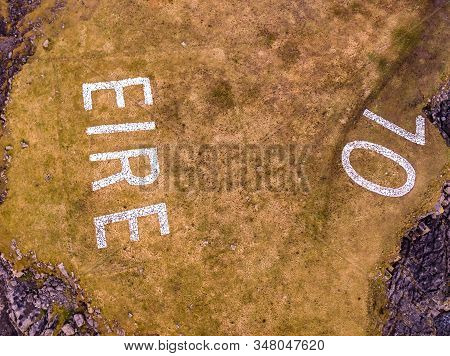 Aerial View Of St. Johns Point And The Eire 10 Marking Next To The Lighthouse, County Donegal, Irela