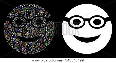 Glowing Mesh Swimmer Smiley Icon With Glare Effect. Abstract Illuminated Model Of Swimmer Smiley. Sh