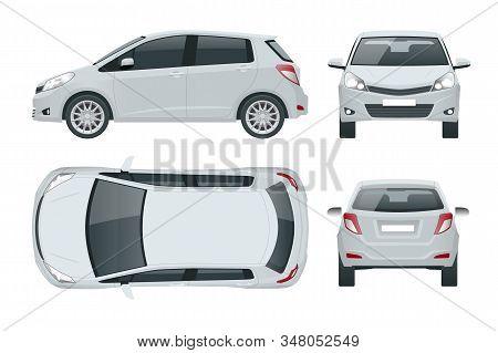 Subcompact Hatchback Car. Compact Hybrid Vehicle. Eco-friendly Hi-tech Auto. Easy Color Change. Temp