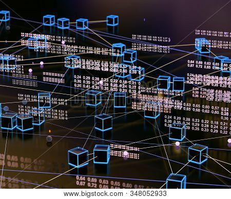 Abstract And Digital Image Related To Cyber Security .data Volume Analysis And Computer Science Indu