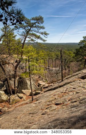 View from the front of the large cave at Robbers Cave, Oklahoma, in early spring