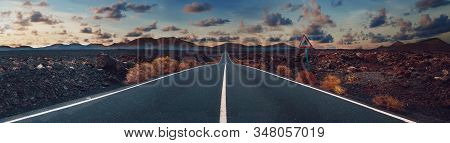 Image Related To Unexplored Road Journeys And Adventures.road Through The Scenic Landscape To The De