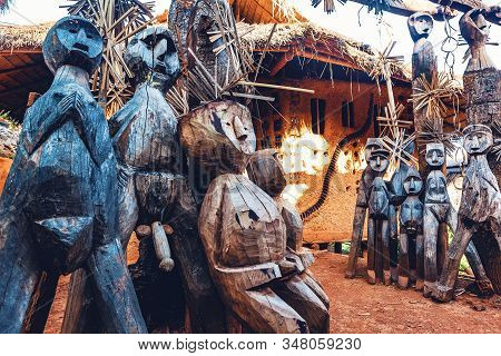 Art And Culture In Asian Tribes.traditional Tribal Sculptures Carved In Wood