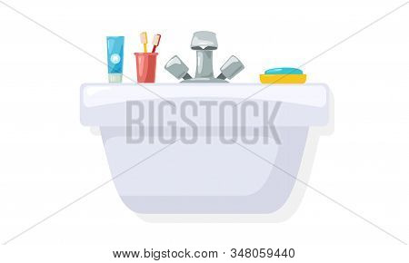 Shiny Sink With Toiletries, Personal Hygiene Accessories Toothpaste, Two Toothbrushes In Red Cup, Bl