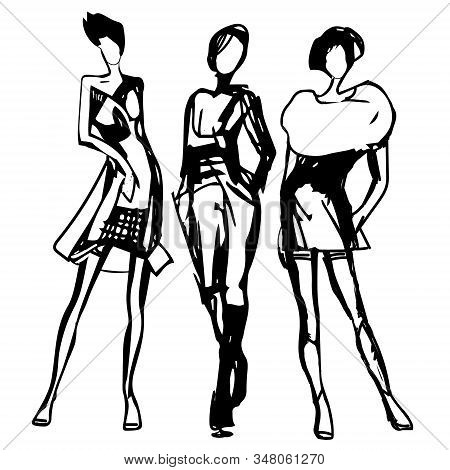 Women Silhouettes Drawn Black Line. Fashion Sketch. Vector. Hand Drawn Stylish Young Lady. Black Ink