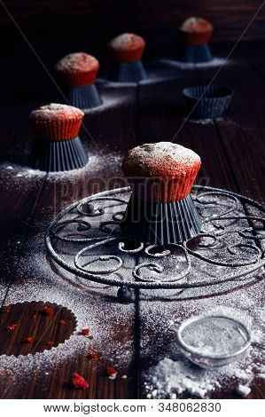 Red Velvet Muffins With Icing Sugar Decoration