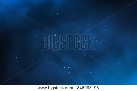 Space Background. Blue Galaxy With Shining Stars. Realistic Milky Way. Colorful Cosmos With Stardust
