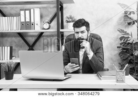 Online Search. Man Bearded Boss Manager Sit Office With Laptop. Manager Solving Business Problems. B