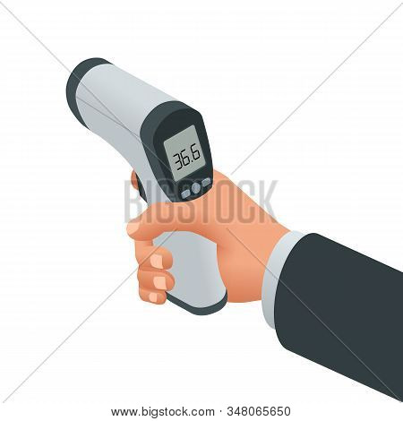 Isometric Medical Digital Non-contact Infrared Thermometer. It Measures The Ambient And Body Tempera