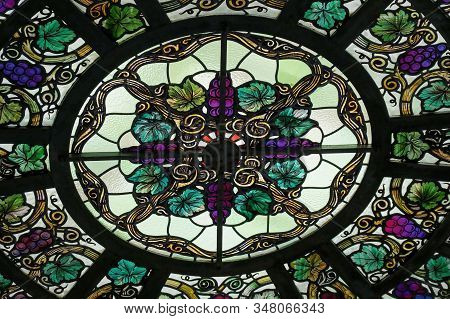 Toronto, Canada - 06 20 2016: Part Of Stained-glass Dome Of Casa Loma Conservatory. This Stunning St