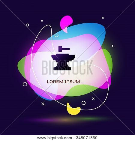 Black Anvil For Blacksmithing And Hammer Icon Isolated On Blue Background. Metal Forging. Forge Tool
