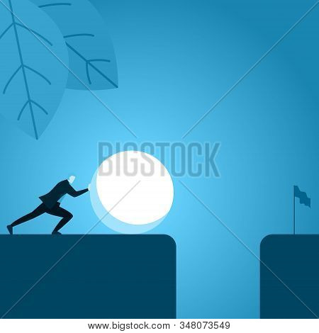 Businessman Employee Push Big Ball To Remove Obstacle That Blocks To Success Illustration
