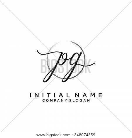 Pg Initial Handwriting Logo With Circle Template Vector.