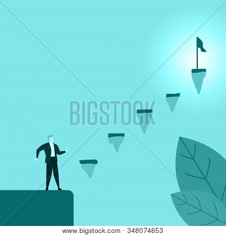 Businessman Or Employee Confused Staring Stairs Of Success Difficult To Pass Illustration