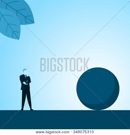 Businessman Or Employee Thinking Staring Big Ball Obstacle Of Success Illustration