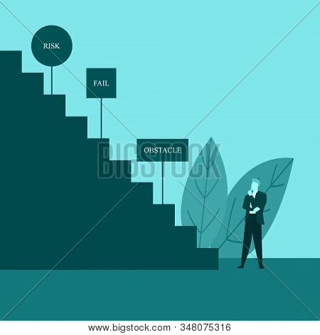 Businessman Or Employee Thinking Staring Stairs Of Success Full Of Obstacle Illustration