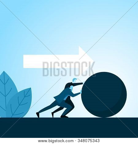 Businessman Partner Push Big Ball Together Remove Obstacle Of Success Illustration