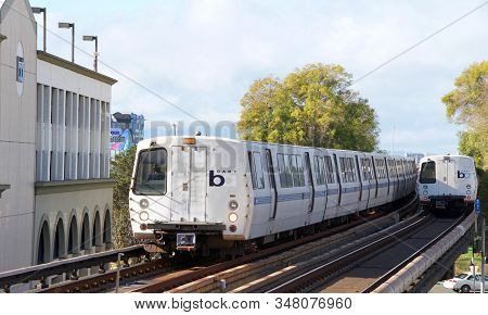 Fruitvale, Ca - Jan 13, 2020: The San Francisco Bay Area Rapid Transit Train, Referred To As Bart, C