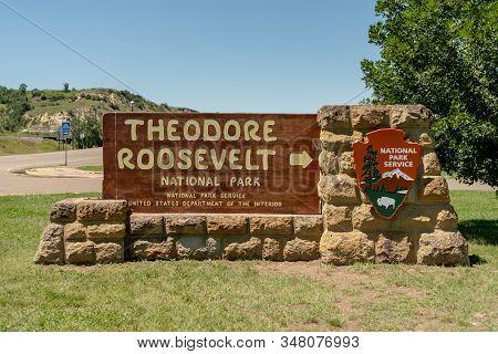 Theodore Roosevelt National Park, United States: July 4, 2018: Theodore Roosevelt National Park Entr