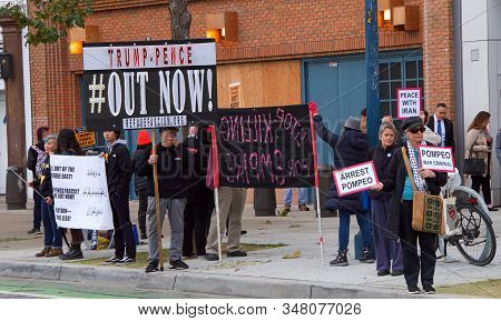 San Francisco, Ca - Jan 13, 2020: Unidentified Protestors Outside The Common Wealth Club Where Secre